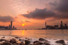Sunset with wave at Victoria Harbour of Hong Kong Royalty Free Stock Photo