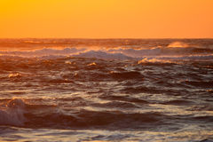 Sunset and waves. Waves crashing in the early morning sunlight Stock Photos