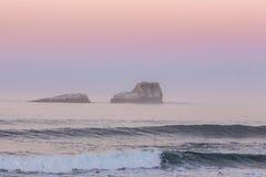 Sunset & Waves Royalty Free Stock Photos