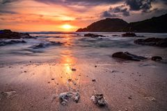 Sunset at Wedi Ombo beach with white sand royalty free stock image