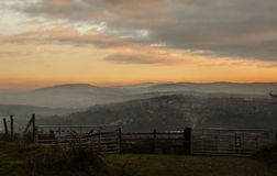 Sunset on Werneth Low. An Autumn scene overlooking the Peak District Royalty Free Stock Photography