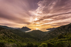 Sunset on the west coast of Corsica Stock Photography