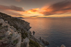 Sunset on the west coast of Corsica Royalty Free Stock Image