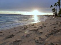 Sunset in West Coastal beach in Oahu HAWAII USA royalty free stock photos