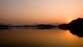 Sunset on west lake Stock Image