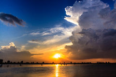 Sunset at west lake Ha Noi Stock Photo