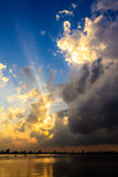 Sunset at west lake Ha Noi. Vietnam Stock Photos
