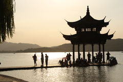 Sunset at West Lake - Hangzhou, China Royalty Free Stock Image