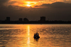 Sunset on west lake Royalty Free Stock Photography
