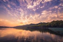 Sunset at West Lake in Hangzhou, China Royalty Free Stock Photo