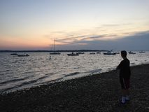 Sunset at West Neck Beach, Huntington NY Royalty Free Stock Photos