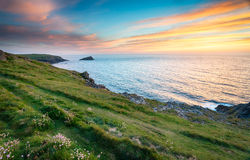 Sunset at West Pentire Royalty Free Stock Images