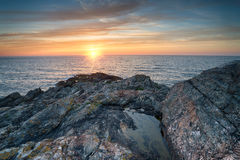 Sunset at West Pentire Royalty Free Stock Photos