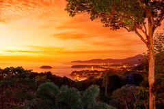 Sunset in western coast of Phuket island Stock Photos