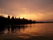 Sunset in westlake, Hangzhou, China, summer Stock Photos