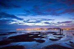 Sunset at wetland and coast of Hong Kong Royalty Free Stock Image