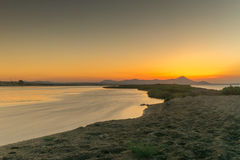 Sunset at the wetland of Oropos in Greece with and hdr technique. Stock Photography