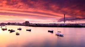 Sunset Weymouth Harbour England Royalty Free Stock Images