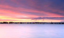 Sunset Weymouth seafront England Stock Image