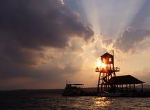 Sunset at wharf 7 Stock Image