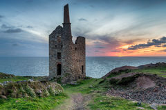 Sunset at Wheal Owles. Stunning sunset at Wheal Owles mine ruins on in the far west of Cornwall at Botallack Royalty Free Stock Images