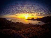 Sunset where Fjords end royalty free stock photos