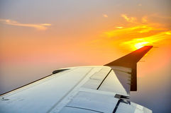 Sunset which plane stock photography