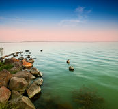 Sunset whit Balaton Royalty Free Stock Image