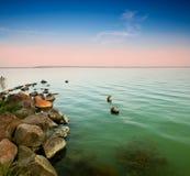 Sunset whit Balaton Royalty Free Stock Image