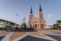 Sunset at white church of Christ in Thailand. Stock Images