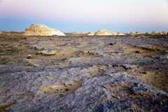 Sunset at the white desert. Rock formations at the incredible white desert in Egypt Stock Image