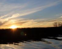 Sunset on the White mud River, Manitoba Stock Image