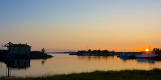 Sunset on White sea Royalty Free Stock Photos