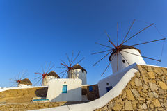 Sunset at White windmill on the island of Mykonos, Cyclades Stock Photo