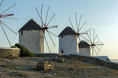 Sunset at White windmill on the island of Mykonos, Cyclades Stock Image