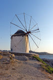 Sunset at White windmill on the island of Mykonos, Cyclades Stock Photography
