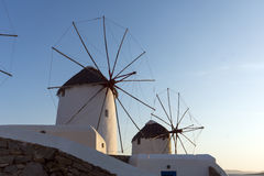 Sunset at White windmill on the island of Mykonos, Cyclades Royalty Free Stock Photography
