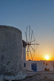 Sunset at White windmill on the island of Mykonos, Cyclades Islands Royalty Free Stock Image