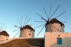 Sunset at White windmill on the island of Mykonos, Cyclades Islands Stock Photography