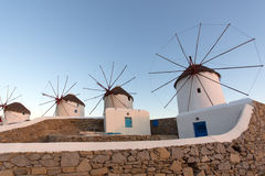Sunset at White windmill on the island of Mykonos, Cyclades Islands Royalty Free Stock Images