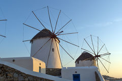 Sunset at White windmill on the island of Mykonos, Cyclades Sunset at White windmill on the island of Mykonos, Cyclades Royalty Free Stock Photos