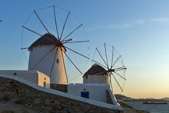 Sunset at White windmill on the island of Mykonos, Cyclades Sunset at White windmill on the island of Mykonos, Cyclades Stock Images