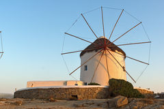 Sunset at White windmill on the island of Mykonos, Cyclades Sunset at White windmill on the island of Mykonos, Cyclades Royalty Free Stock Photo