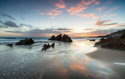 Sunset at Whitsand Bay Royalty Free Stock Photos