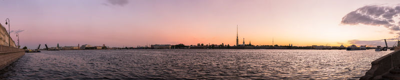 Sunset wide angle panorama of a city river of Saint - Petersburg Stock Photo