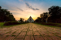 Sunset at Wiharn Phra Mongkol Bophit, Ayutthaya, Thailand. (Ayutthaya known as old capital of Thailand royalty free stock photos