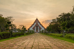 Sunset at Wiharn Phra Mongkol Bophit, Ayutthaya, Thailand. (Ayutthaya known as old capital of Thailand royalty free stock images