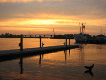 Sunset on Wilmington Cape Fear River. This photo of the Cape Fear river was taken at sunset Stock Photo