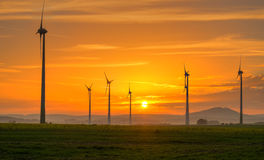Sunset and wind engines Royalty Free Stock Photography