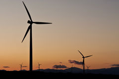The sunset in a wind farm. A beauty sunset in a wind farm Royalty Free Stock Images